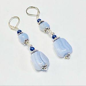Lacy Blue Chalcedony Stone Lever-back Earrings